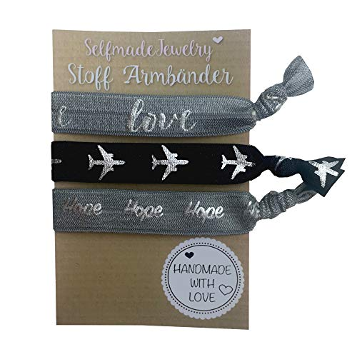 SelfmadeJewelry Damen Stoff Armband und Haargummi Set - Grau Schwarz Silber auf elastischem Bändchen handgemacht