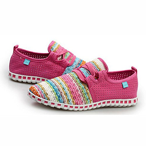Unisex Popular Geometric Pattern Super Light Walking Shoes women pink