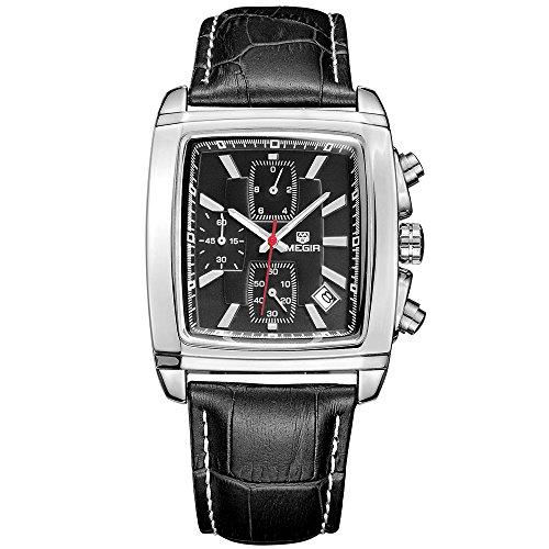 megir Chronographe style militaire montre à quartz lumineux montre pour homme imperméable tendance pour homme avec calendrier cadran rectangle