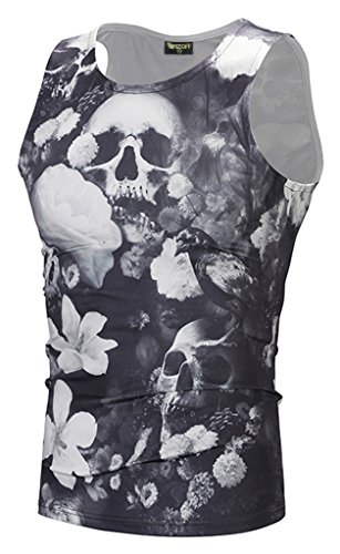 Pizoff Herren Gym Sport Fitness Stringer Trainingsshirt Muskelshirt T-Shirt Tank mit Animation Cartoon Karikatur Muster (Cargo-rock Camo)