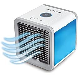 Arctic Air mobiles Klimagerät Cool Luftkühler Befeuchter Ventilator mit USB Anschluß oder Netzstecker | Hydro-Chill Technologie | 3 Kühlstufen - 7 Stimmungslichter | Das Original von Mediashop