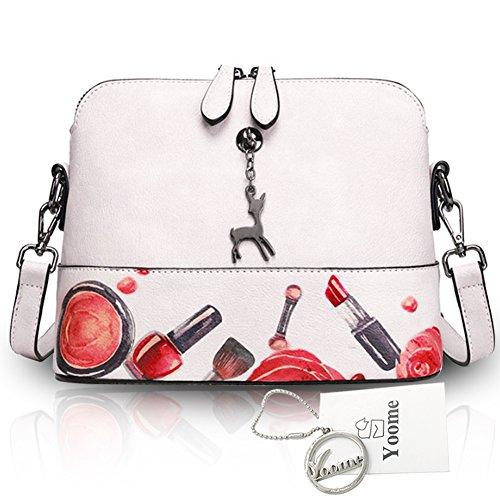 Yoome Hollow Pendant Printing Nette Tasche für Frauen Shell Tasche Mädchen Taschen für College - Weiß Weiß
