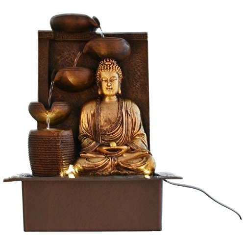eCraftIndia Great Lord Buddha Water Fountain (31 cm x 23 cm x 41 cm, Green)