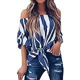 Bluse Damen Kolylong® Frauen Elegant Gestreift Kurzarm Bluse Vintage Bandage Shirt Off Shoulder Schulterfrei Oberteile Reizvoller Rückenfrei Top Sommer Tunika T-shirt Hemd Sweatshirt Pullover (XL, Blau)