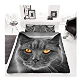 Parure de lit en polycoton, imprimé animal Effet 3D Double Cats Grey