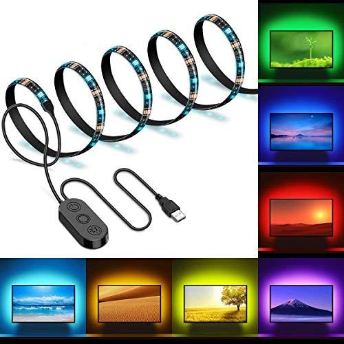 2m LED Tira USB Para TV, Minger Tira Leds Lluminación Excelente IP65 Impermeable, 5050 Colores RGB Retroiluminado Hay Música Micrófono con Controlador con Cable USB y 8 Colores, Perfecto para HDTV, PC, Espejo, Oficina, Hogar Etc.