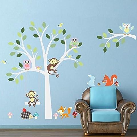 zooarts Scimmia Coniglio gufi albero adesivi da parete per gioco per bambini Room Decor