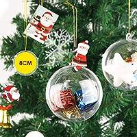 amzdeal Boules de Noël Transparente à Remplir, Lot de 12 pcs Boules de Décoration en Plastique pour Décoration de Sapin de Noël Bricolage Anniversaire Mariage Pâque Chambre, 8CM