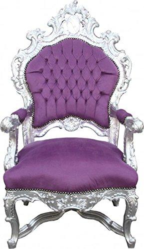 Casa Padrino Barock Luxus Thron Sessel Lila/Silber - Unikat - Barock Möbel...
