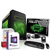 Gaming PC Komplett Set / Multimedia COMPUTER inkl. Windows 10 Pro 64-Bit! - Quad-Core Intel Core i7-6700K 4 x 4.2 GHz - Nvidia Geforce GTX 1070 mit 8GB GDDR5 RAM - 16GB DDR4 RAM - 1000GB HDD - ASUS 22-Zoll TFT Monitor - 24-fach DVD Brenner - Lautsprecher - Tastatur + Maus - USB 3.0 - DVI - HDMI - Displayport - Gamer PC mit 3 Jahren Garantie!