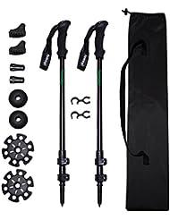 fomagi Trekkingstöcke - Wanderstöcke - Teleskopstöcke - Nordic Walking - Leicht Verstellbar Teleskop - 2 Stück - schwarz