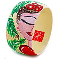 Bracciale dipinto a mano – I LOVE FRIDA KAHLO - Bracciale da donna, Gioiello in legno dipinto a mano, Made in Italy, Bijoux da donna decorato, Braccialetto femminile, Lavorazione Artigianale