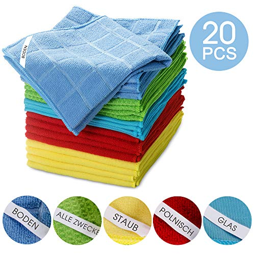 Masthome 5 Farbe Mikrofaser- Reinigungstücher,20 Stücke/Verpackung,Ultra weich Putztuch Mikrofaser,Tuchgröße: 33 x 33cm