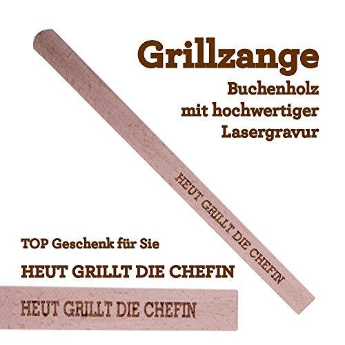 Grillzange Aus Holz Mit Hochwertiger Gravur Heut Grillt Die Chefin