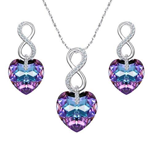 rling Silber CZ Figure 8 unendlich Vitrail hell lila Herz Pendant Halskette Ohrringe Set geschmuckt mit Kristall von Swarovski® ()