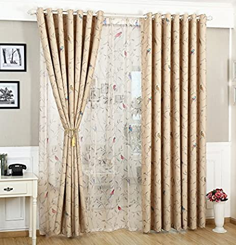 Oriental Bird Vintage Floral CREAM Shabby Chic Eyelet Lined Blackout Curtains 46