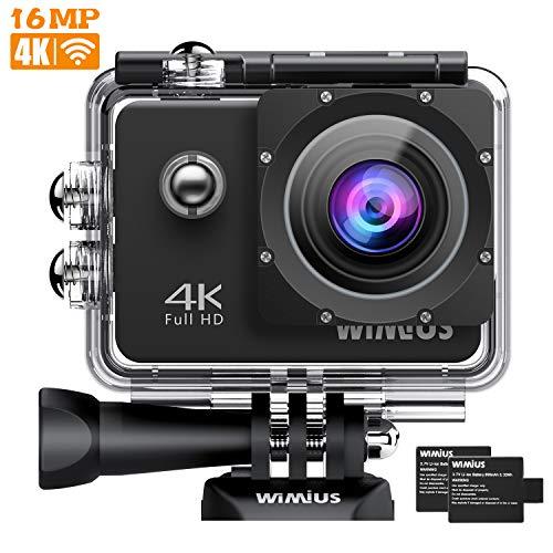 WiMiUS Action Cam 4K WiFi 1080P Full HD Impermeabile Fotografica Subacquea 40M 2 Pollici 170 Gradi Ampia Vista Grandangolare con Custodia Impermeabile, 2 Batterie 1050mAh