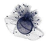 MagiDeal Vintage 1920s Fascinator Haarreif Haarschmuck mit Netzschleier Damen Hochzeit Kopfschmuck - Dunkelblau Vergleich
