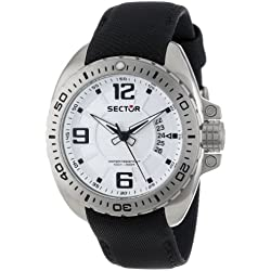 Sector Men's Quartz Watch with White Dial Analogue Display and Black Leather Strap R3251573003