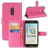 GARITANE Alcatel A7 Hülle Case Brieftasche mit Kartenfächer Handyhülle Schutzhülle Lederhülle Standerfunktion Magnet für Alcatel A7 (Hot Pink)