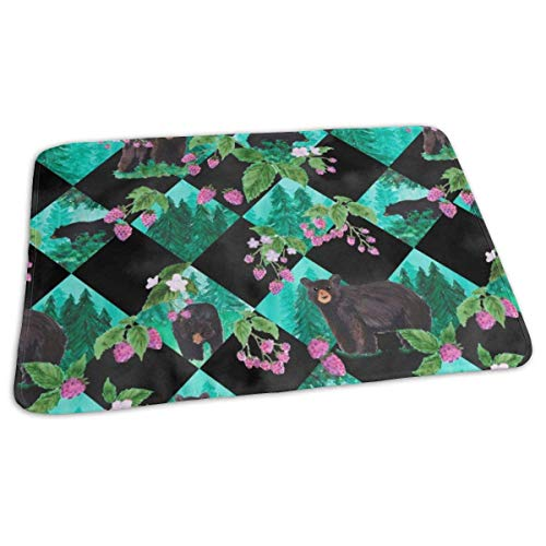 Bikofhd Black Bear Forest Berries Inch Baby Portable Reusable Changing Pad Mat 19.7X 27.5 inch -