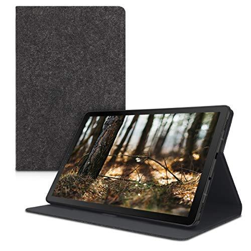 kwmobile Wallet Case Filz Hülle für Samsung Galaxy Tab S4 10.5 - Cover Flip Tasche in Dunkelgrau