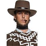 Smiffys Déguisement Adulte, Chapeau de bandit authentique de Western, avec bande noire, Taille unique, Couleur: Brun, 36336