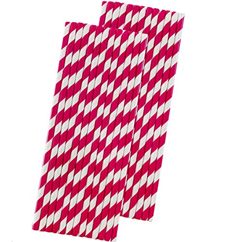 Outside the Box Papers Strohhalme, gestreift, 19 cm, Hot Pink/Weiß, 50 Stück