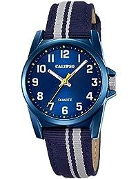 Calypso Montre enfant Junior Collection analogique Quartz cuir textile bleu gris UK5707/7