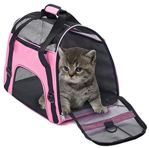 Transporttasche für Haustiere Wasserdichte Airline-zugelassene, tragbare Outdoor-Premium-Reisetaschen für kleine Welpen-Komforthunde, Katzen-Käfig Kistenbox(L,Pink)