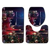 LoveLeiter 3PCS Weihnachten WC-Set WC Cover Dekorationen Badezimmer Faltbare Toilettensitze Tragbarer Reise WC Sitz Kleinkind Töpfchen mit Aufbewahrungstüte WC-Sitzwärmer für Kinder/Baby (H)