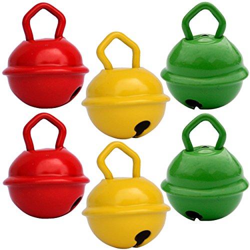 Glöckchen schellen 15mm - 2 Rot + 2 Gelb + 2 Grün – schön laut sound (nicht rostend) - Mehr als 16 farben in 3 Größen (Glöcken Kugeldurchmesser 15 mm, 24 mm, 35 mm) – Glöckchen zum basteln, kreatives Gestalten baby, kinder, senioren : musikalischen Früherziehung, deko, Schlüsselanhänger, Hochzeit, fußballfanartikel, Haustiere … (Ei-halloween-kostüm)