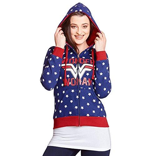 Mujer Maravilla señoras de la chaqueta con capucha del logotipo de DC Comics Estrellas azules - XL