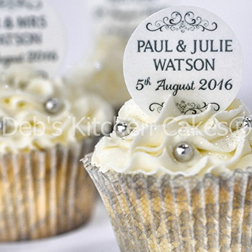 Personalised Wedding Cupcake Toppers - Black and White Wedding Cake Decorations - Edible Wafer or Edible Icing - Deb's Kitchen Cakes (Wafer)