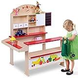 Costway Wooden Play Shops Children Toy Shop Corner Village Kids Supermarket Shopping Stall (Colorful)