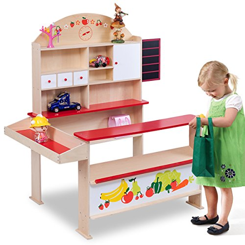 Costway Wooden Play Shops Children Toy Shop Corner Village Kids Supermarket Shopping Stall (Colorful)