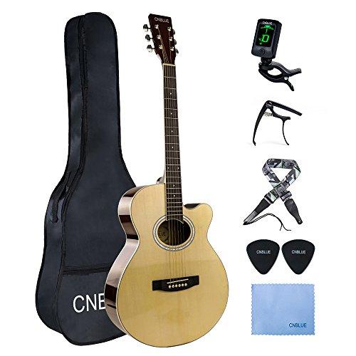Akustische Gitarre für Anfänger Westerngitarre mit Cutaway Gitarrenstarter-Kits 40 zoll Natur