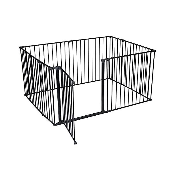 Safetots Play Pen (Black, 105 x 144 cm) Safetots Perfect solution for keeping baby in a safe area whilst they rest and play Includes 1x 72cm Gate Opening Panel, 2x 33cm Panels and 5x 72cm Panels Extra wide door section for easy access 2