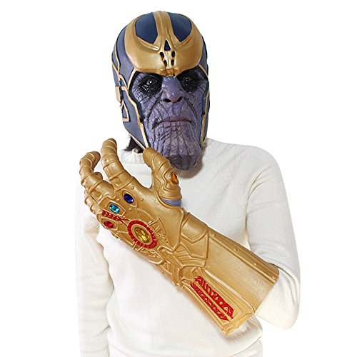 Qingningwenhua Halloween Maske Marve Thano Infinity Gloves Handschuhe Cosplay Kostüme Super Hero Mask Gauntlet Infinit War (Maske und ()