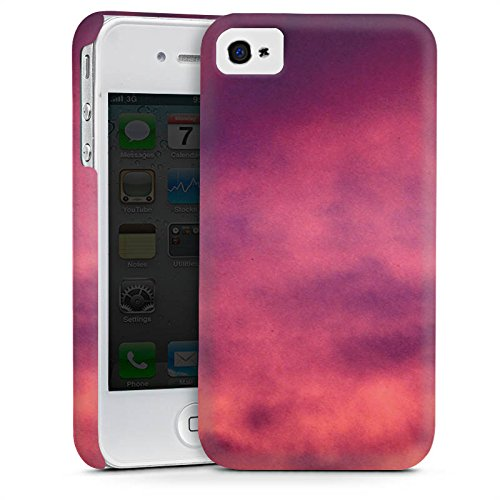 Apple iPhone 4 Housse Étui Silicone Coque Protection Lilas Nuages Ciel Cas Premium mat