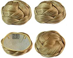 Beauty Wig World Fashion Women 60gr Mix Blonde Chignon Synthetic Donut Roller Hairpieces Clip-In Fake Hair Bun