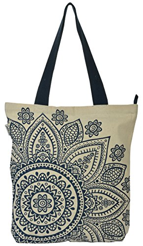 Pick Pocket Women's Tote Bag (Blue & Cream)  available at amazon for Rs.149
