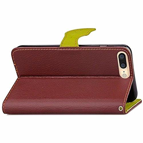 Eaquro Wallet Cover iPhone 7 Plus / iPhone 8 Plus Custodia a portafoglio con Card Slot [chiusura magnetica] in pelle ultra-sottile con funzione di supporto,Cover Morbido Antipolvere Protezione per iPh Marrone