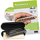 CASCHA Harmonica Learning Set Including High Quality Harmonica in C Major, Diatonic French Beginners School, Case and Cleaning Cloth, Ideal for Beginners and Adults