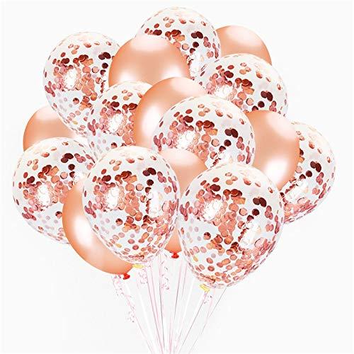 """Xiangyu 20pcs 12"""" precargado Globos de látex de Confeti de Oro Rosa con 1 Rollo de Cinta de Oro Rosa para cumpleaños Ducha de bebé Ducha Nupcial Decoraciones de Boda"""