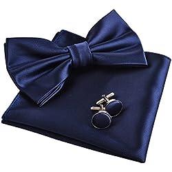 ElšŠgant Chic Lot de N?ud Papillon & Mouchoir & Boutons de Manchette pour Homme-Bleu Marine