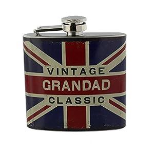 """Bandiera Union Jack vintage """"Grandad"""" Classic–Fiaschetta in acciaio INOX, in confezione regalo"""