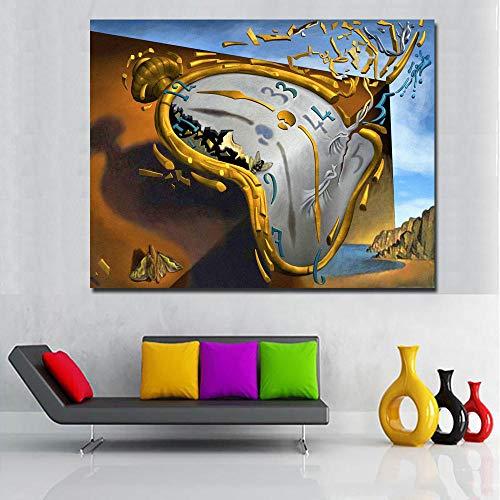 Leinwand Druck Plakat Postmoderne Abstrakte Kunst Uhr Von Salvador Dali Leinwand Gedruckt Kunst Malerei Wandbilder Für Wohnzimmer Dekor 50Cmx70Cm/Frame