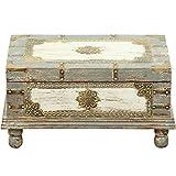 Orientalische Truhe Kiste aus Holz Arjuna Grau - 47cm groß | Vintage Sitzbank mit Aufbewahrung für den Flur | Aufbewahrungsbox mit Deckel im Bad | Betttruhe als Kissenbox oder Deko im Schlafzimmer