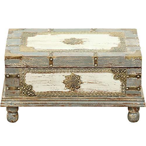 Orientalische Truhe Kiste aus Holz Arjuna Grau - 47cm groß | Vintage Sitzbank mit Aufbewahrung für den Flur | Aufbewahrungsbox mit Deckel im Bad | Betttruhe als Kissenbox oder Deko im Schlafzimmer -